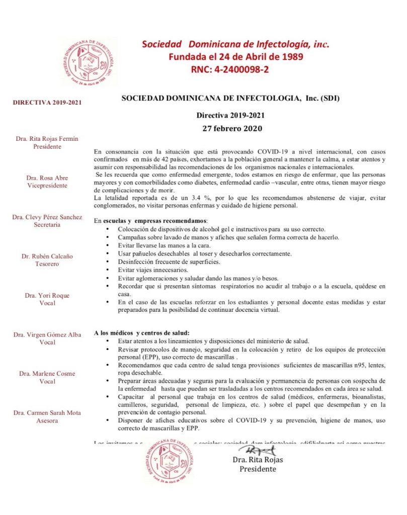 Comunicado de prensa del 27-Feb-2020 de la SOciedad DOminicana de Infectología acerca del coronavirus en la República Dominicana