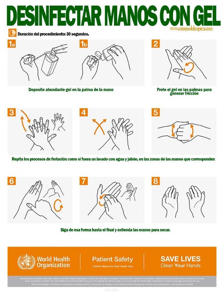 como desinfectar manos con gel